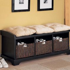 Dimensions: x 16 x Finish: Black. Black Entryway Bench with Storage Baskets Cushions. Complete with baskets and cushions a true Black Storage Bench, Storage Bench With Baskets, Storage Bench With Cushion, Entryway Bench Storage, Bedroom Storage, Entry Bench, Hall Bench, Storage Benches, Front Door Shoe Storage
