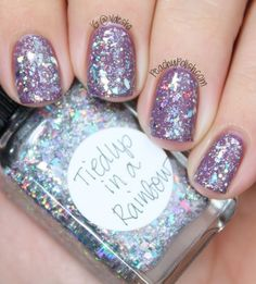 """Tied Up In A Rainbow"" is a holographic glitter bomb with glitter, microglitter and shreds"