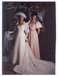 1983 Wedding Gown by Eve of Milady Eve Of Milady Wedding Dresses, Retro Wedding Dresses, Vintage Bridesmaid Dresses, Wedding Dress Sleeves, Designer Wedding Dresses, Bridal Dresses, Vintage Dresses, Wedding Gowns, Chic Vintage Brides