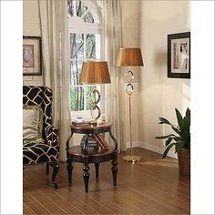 Yosemite Home Decor Rose Gold Portable Floor Lamp with Gold Silk Mushroom Shade