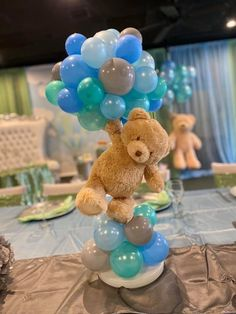 Popular baby shower theme, floating teddy bear with balloons centerpiece. Popular baby shower theme, floating teddy bear with balloons centerpiece. Baby Shower Decorations For Boys, Boy Baby Shower Themes, Baby Shower Balloons, Baby Shower Gender Reveal, Baby Boy Shower, Baby Shower Gifts, Baby Boy Balloons, Room Decorations, Teddy Bear Centerpieces