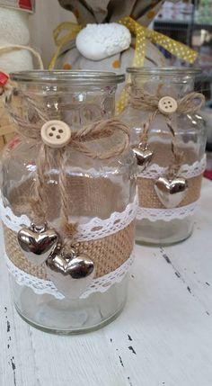 Jam Jar Crafts, Wine Bottle Crafts, Bottle Art, Diy Crafts For Gifts, Crafts To Make, Bottles And Jars, Mason Jars, Lace Jars, Diy Cardboard Furniture