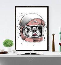 poster dog astronauta pink - 30x40cm