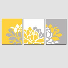 Floral Trio - Set of Three Flower Art Prints - Modern Nursery or Home Decor - Choose Your Colors - Shown in Yellow, Gray, White - Nurseries Shares Art Floral, Floral Prints, Diy Canvas, Canvas Art, Three Canvas Painting, Canvas Walls, Painting Art, Mini Tela, Arte Bar