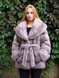 Real New Mink Fur Coat Saga Silver Skins Sapphire Nafa Mexa Nerzmantel Sable Fox   eBay