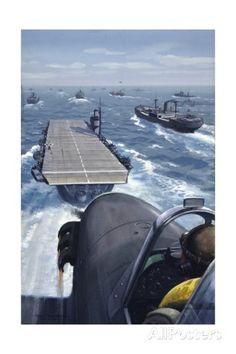 Airplane About to Land on an Aircraft Carrier in a Convoy reproduction procédé giclée sur AllPosters.fr