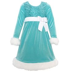 Cute Christmas dresses in favor of girls from Bonnie Jean. Bringing out a special pop of delicate aqua blue color, the precious Santa dress has classy white faux fur trim, sparkle sequin embellishment and rhinestone brooch accented bow at the waistline an