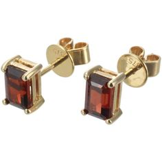 EWA 9ct Yellow Gold Garnet Stud Earrings ($170) ❤ liked on Polyvore featuring jewelry, earrings, monarch butterfly earrings, gold jewellery, gold butterfly earrings, stud earrings and earring jewelry