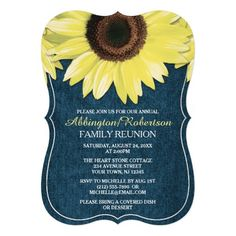 Rustic Sunflower Denim Family Reunion Invitations
