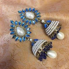 Leaf Pearl Jhumki, Bollywood Style Pearl Green Earrings With Hanging Round bali