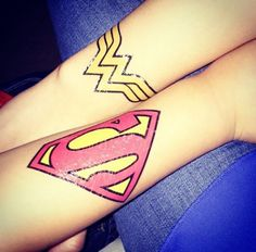 #superman #wonderwoman Matching tattoo with my babylovez via jhennypuffs