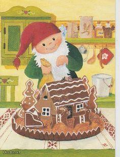 Kaarina Toivanen Illustrations, Illustration Art, Elsa Beskow, New Year Postcard, Fairy Land, Vintage Christmas Cards, Christmas Pictures, Jingle Bells, Goblin
