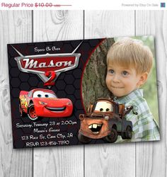ON SALE 35% Disney Cars Invitation - Cars Birthday Party Invitation - Disney Cars Printable - Cars Invitations - Lightning McQueen Invitatio