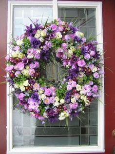 Purple~Mauve~Ivory Spring~Summer Silk Floral Design Door WreathQ's Creations Designs