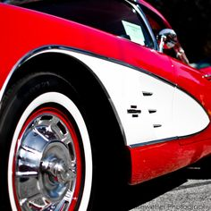 Red Corvette - Square Photograph - 1961 Chevy Corvette by JKiesewetterPhotos - $10.00
