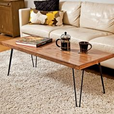 coffee table with hairpin legs white leather sofa modern living room furniture ideas