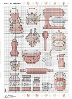 Kitchen motifs part 1 free cross stitch patterns Cross Stitch Kitchen, Mini Cross Stitch, Cross Stitch Cards, Cross Stitching, Cross Stitch Embroidery, Hand Embroidery, Cross Stitch Designs, Cross Stitch Patterns, Plastic Canvas Patterns