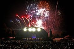 Liverpool International Music Festival opening night as fireworks light up the night sky.
