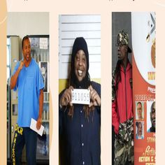 """Former prisoners and prisoner Hip Hop artists are making JUNETEENTH real to thousands as leaders in the movement to Decarcerate. (l) Prisoner-Artist & The King of Prison Hip Hop, Donald """"C-Note"""" Hooker; (c) Deputy-director of Die Jim Crow Records and Rapper, BL Shirley; (r) Co-director of California Prison Focus & Rapper, Min King X #Juneteenth #Superheroes #HipHop C Note, Power Of Social Media, Jim Crow, Hip Hop Artists, Rapper, Presidents, Prisoner, Hiphop, Action"""