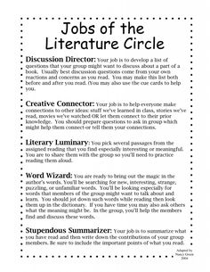 Free Literature Circles Printables in Laura Candler's Online File ...