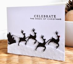 Silhouette Cameo santa and sleigh card using a digi stamp