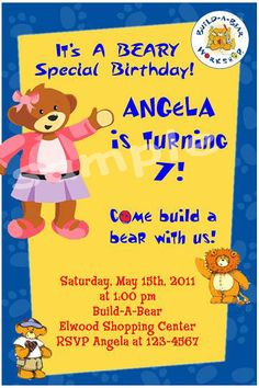 Printable Build A Bear Birthday Party Invitation Print your own