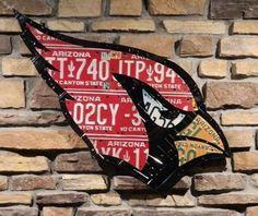 Arizona Cardinal made from expired Arizona license plates via Etsy -- love!