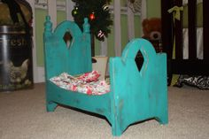 """18"""" baby doll wooden bed.  Will soon be available at www.etsy.com/shop/littleapplecore"""