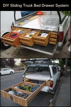Learn how to install a sliding truck bed drawer system! Upgrade Your Truck by Installing a Sliding Truck Bed Drawer System Truck Bed Drawers, Truck Bed Storage, Bed With Drawers, Diy Storage, Storage Ideas, Truck Bed Organizer, Storage Systems, Tool Storage, Storage Organization