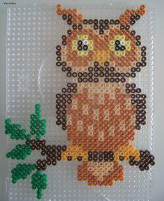 Owl hama perler beads by Melty Bead Patterns, Pearler Bead Patterns, Owl Patterns, Perler Patterns, Beading Patterns, Perler Beads, Fuse Beads, Owl Perler, Art Perle
