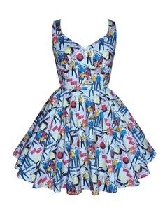 Full circle 'Lily' in grey Star Trek (special order fabric). 1950s vintage inspired comic book dress.