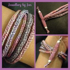 Handmade Lucet cord bracelet with a beaded toggle clasp, £18.99 <> (needlework, cording)