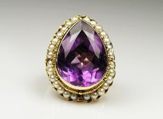 16+ Carat Amethyst & Cultured Pearl 14K Yellow Gold Cocktail Ring