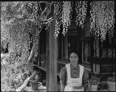 """Japanese-American woman awaiting evacuation, 1942. """"Mother of 6 children born in this country. Before evacuation, the family operated a 20 acre farm raising berries, broccoli, peas, and garlic."""" Mountain View, California, Dorothea Lange. (NARA via Wikimedia Commons)"""