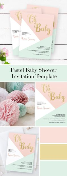 Pink and Gold Baby Shower ideas by LittleSizzle. Pastel Baby Shower Invitation Template for girl or gender neutral. Make the perfect announcement of your friends baby shower with this sweet pastel baby shower invitation. Simply download, edit and print!