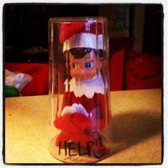 Elf on the shelf ideas trapped in a cup