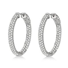 Pave-Set Inside-Outside Diamond Hoop Earrings 14k White Gold 2.75ct - Allurez.com