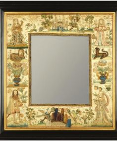 The feller needlework collection ashmolean exhibition Diy Wall Decor For Bedroom, Mirror Painting, Antique Frames, Mirror Ideas, Display Design, Casket, 17th Century, Hand Embroidery, Needlework