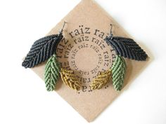 Bohemian Chic Macrame EARRINGS LEAF Textile Fiber Jewelry by raiz