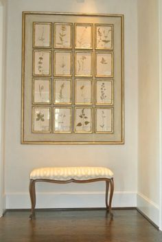 gallery wall with frame around it. Beautiful nook in a hallway. Bench covered in Schumacher print. -via Interior Canvas Design Entrée, Bench Covers, Wall Decor, Room Decor, Interior Decorating, Interior Design, Diy Canvas, Frames On Wall, Fabric In Frames