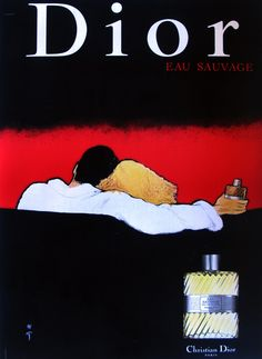 Dior- Eau Sauvage Authentic Vintage Poster by Rene Gruau Qualifies for free shipping! Designed by one of the most important fashion illustrators of all time, the Dior Eau Sauvage Poster is a rich and