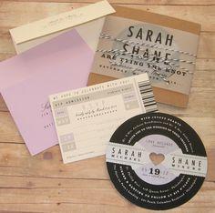 Music Lovers - Retro Record Wedding Invitation. $6.50, via Etsy.
