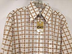 David Langman Capri Vintage 60s 70s Disco Shirt Mens Medium Tan White Check NWT #CapribyDavidLangman #ButtonFront