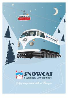 Snowcat Winter Volkswagen Doppelmayr Panelvan Vector Art Print Vw T1, Volkswagen, Fis World Cup, Ski Equipment, Ski Gear, Ski Lift, Alpine Skiing, Winter Scenery, Winter Olympics