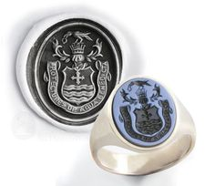 Sardonyx Gemstone Ring - Engraved With an Heraldic Coat of Arms