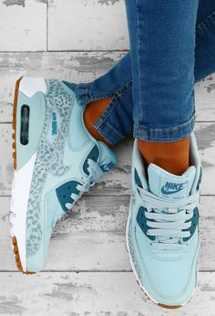 Nike Air Max 90 Blue Leopard Trainers | Pink Boutique
