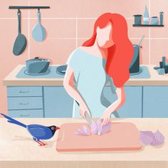 Adorable illustration of a woman cooking in the kitchen. Flat Design Illustration, People Illustration, Character Illustration, Digital Illustration, Graphic Illustration, Illustration Styles, Web Design, Design Sites, Vector Design