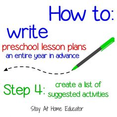Step 4-create a list of suggested activities_how to write preschool lesson plans a year in advance - Stay At Home Educator