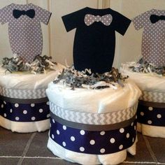 Little Man Mini Baby Diaper Cakes in Navy by CheekyDiaperCakes