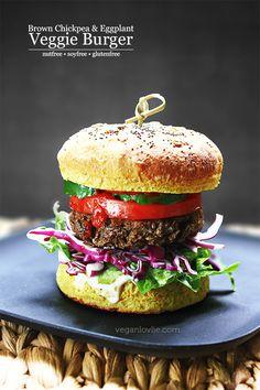 Brown Chickpea and Eggplant Veggie Burger Recipe